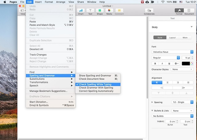 Cách tắt kiểm tra chính tả trong Word 2010 (MacOS)