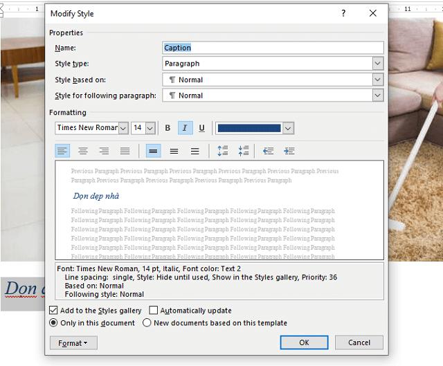 """Chỉnh sửa định dạng của mô tả tại """"Modify Style"""""""