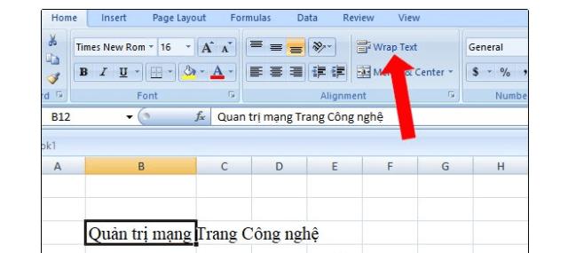 Xuống dòng Excel bằng Wrap text